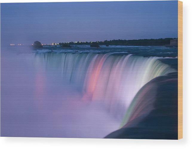 3scape Photos Wood Print featuring the photograph Niagara Falls at Dusk by Adam Romanowicz
