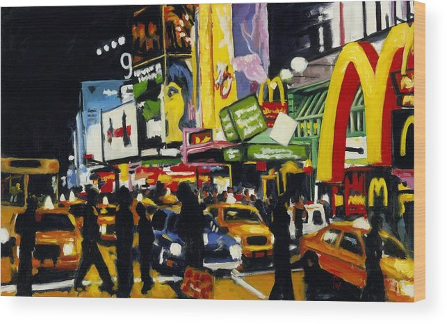 New York Wood Print featuring the painting NYC II The Temple of M by Robert Reeves