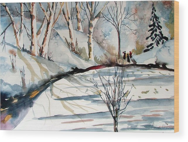 Winter Wood Print featuring the painting O Holy Night by Mindy Newman