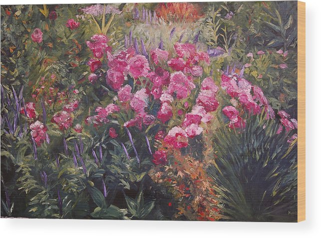 Konkol Wood Print featuring the painting Olbrich Garden Series - Garden 1  by Lisa Konkol