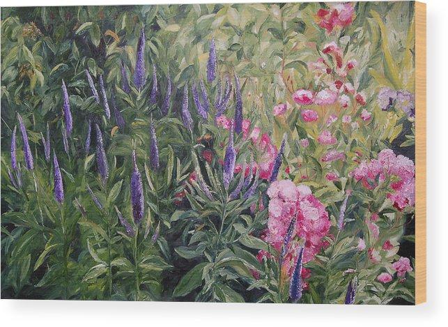 Konkol Wood Print featuring the painting Olbrich Garden Series - Garden 2 by Lisa Konkol
