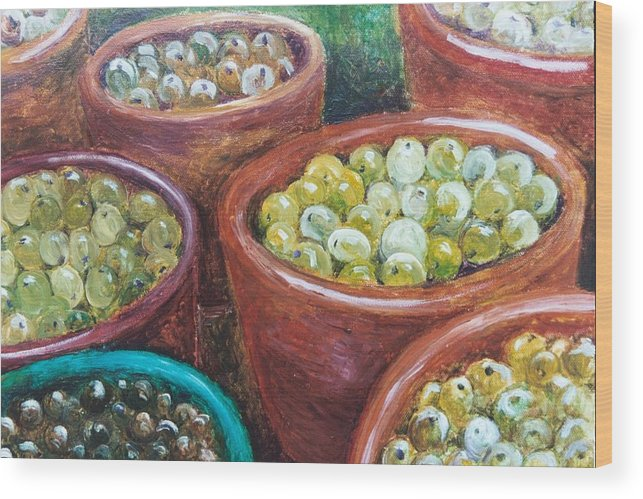 Olives Wood Print featuring the painting Olives by the Crock by Jun Jamosmos
