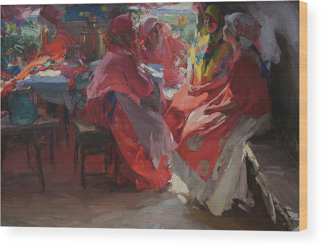 Abram Arkhipov Wood Print featuring the painting On a Visit by Abram Arkhipov