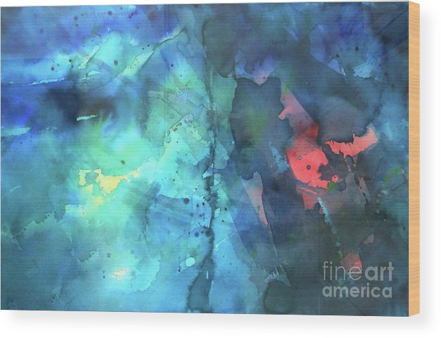 Abstract Wood Print featuring the painting Out of the Blue by Lucy Arnold