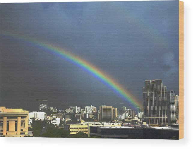 Rainbow Wood Print featuring the photograph Over the Double Rainbow by Richard Henne