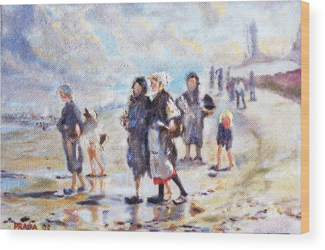 Oil Wood Print featuring the painting Oyster gatheres of Cancale by Horacio Prada