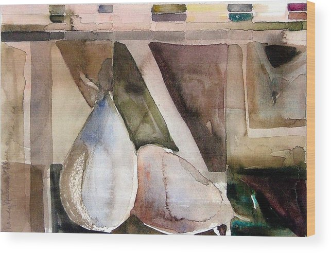 Pear Wood Print featuring the painting Pear Study in Watercolor by Mindy Newman