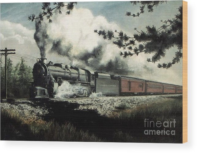 Pennsylvania Railroad Prr Train Painting Railroad Maryland And Pennsylvania Autumn Fall Colors Steam Engine Wood Print featuring the pastel Pennsy in the Pines by David Mittner