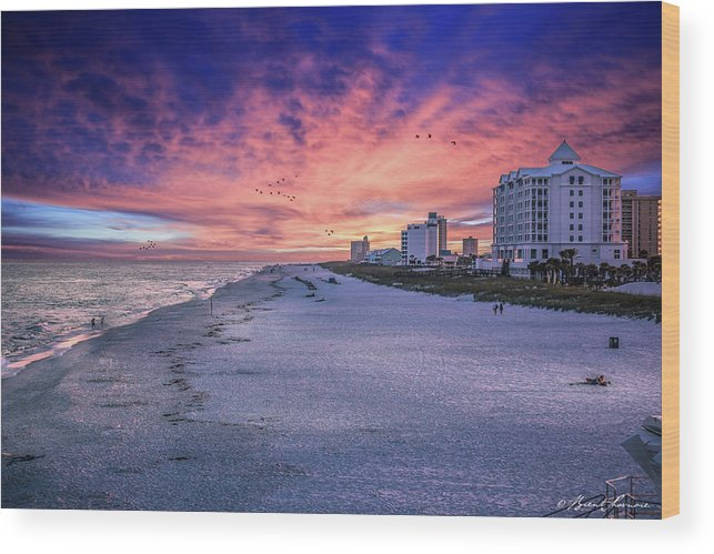 Brent Shavnore Pensacola Beach Sunset Emerald Coast Escambia County Wood Print featuring the digital art Pensacola Beach Vibrant Sunset by Brent Shavnore