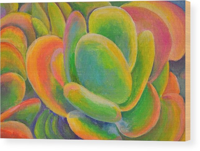 Acrylic Painting Wood Print featuring the tapestry - textile petales Multicolores by Muriel Dolemieux