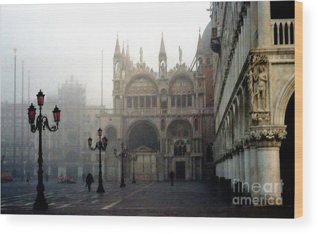 Venice Wood Print featuring the photograph Piazzetta San Marco in Venice in the Morning Fog by Michael Henderson