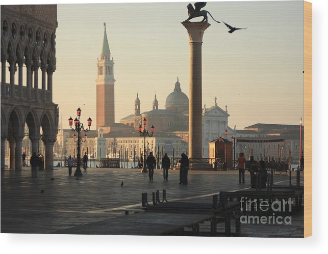 Venice Wood Print featuring the photograph Piazzetta San Marco in Venice in the Morning by Michael Henderson