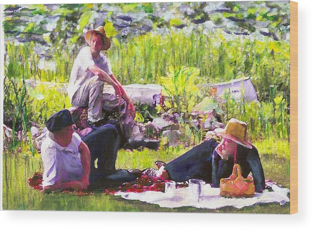 Lake Wood Print featuring the painting Picnic by the Lake by Randy Sprout