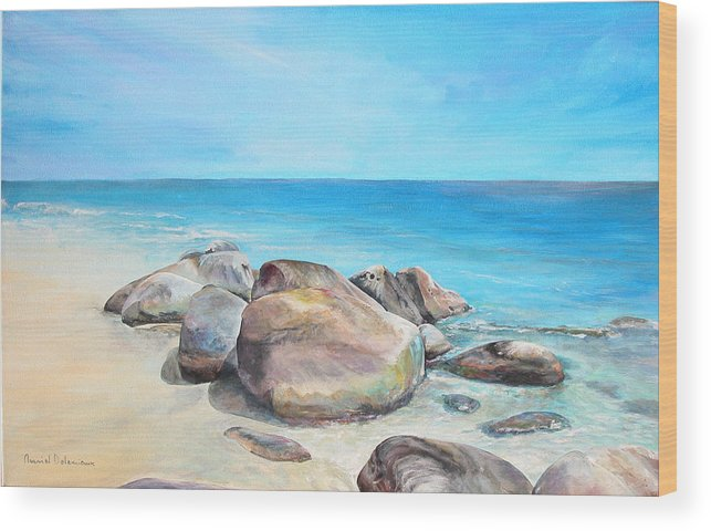 Paysage Wood Print featuring the painting Plage by Muriel Dolemieux