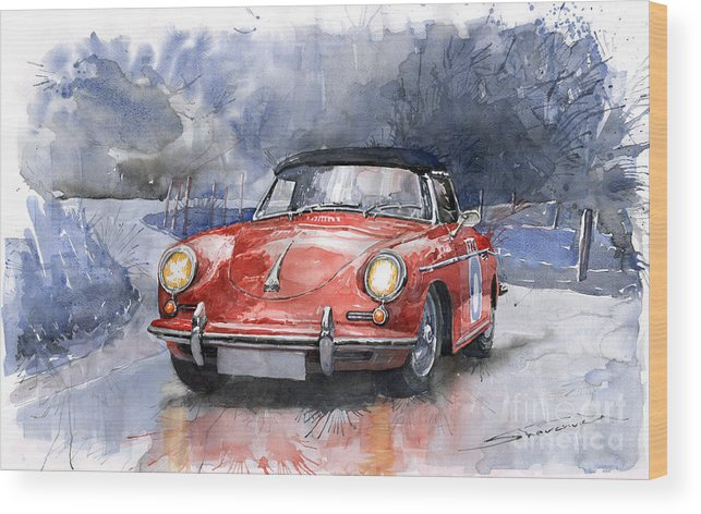 Auto Wood Print featuring the painting Porsche 356 B Roadster by Yuriy Shevchuk