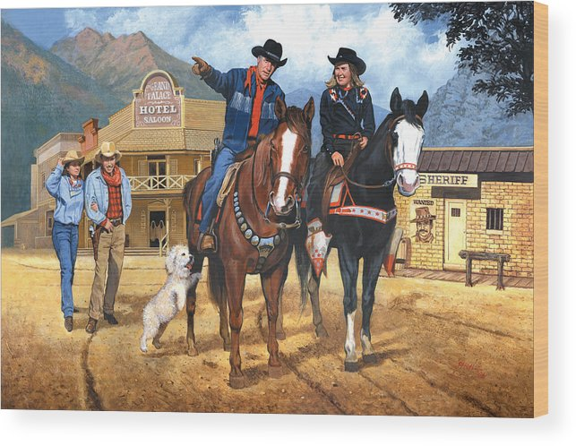 Western Wood Print featuring the painting Portrait Of Harry And Pat Bernstein by Harold Shull