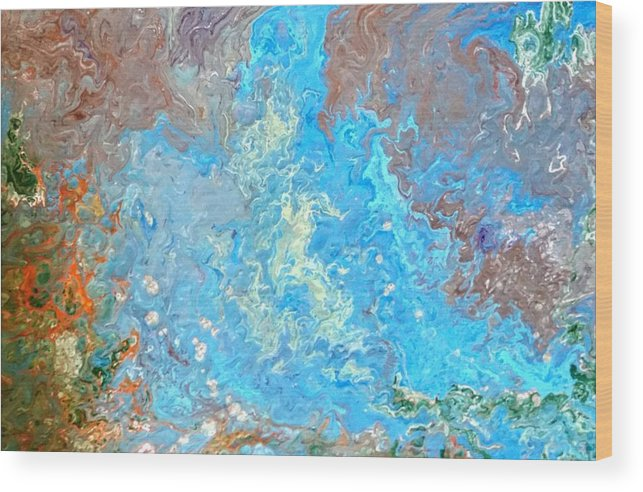 Acrylic Pour Wood Print featuring the painting Siskiyou Creek by Valerie Josi