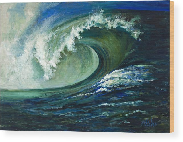 Waves Wood Print featuring the painting Power by Billie Colson