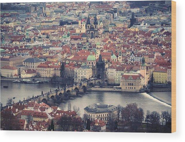 Horizontal Wood Print featuring the photograph Prague Skyline by Piero Damiani