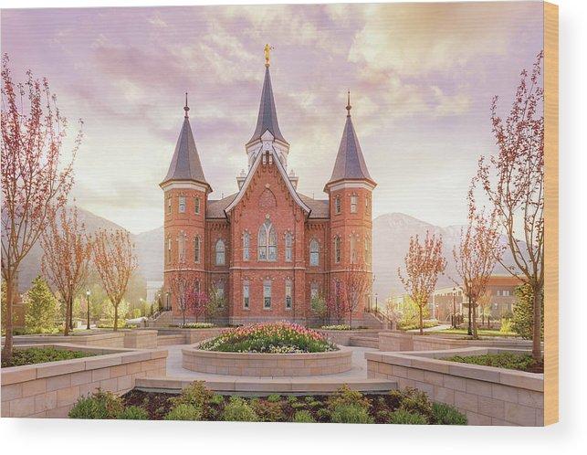 Provo City Center Utah Temple Wood Print featuring the photograph Provo City Center Temple Dawn by Tausha Schumann