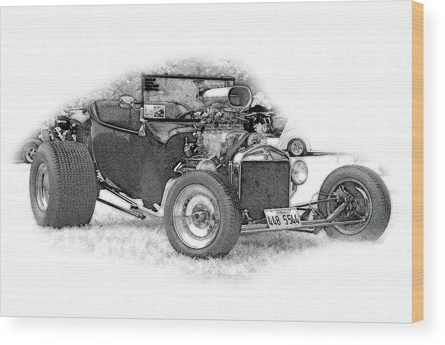 Cars Wood Print featuring the digital art Ps Pencil 256 by Shellie Midgette