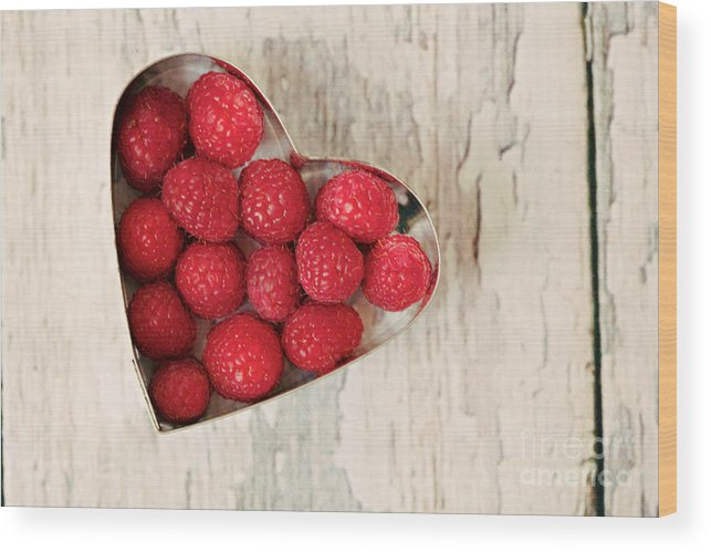 Raspberry Wood Print featuring the photograph Raspberry Heart by Kim Fearheiley