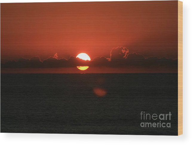 Sunset Wood Print featuring the photograph Red Sunset Over the Atlantic by Nadine Rippelmeyer