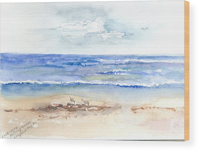 Rolling Waves Wood Print featuring the painting Rolling Waves Beach by Rebecca Marona