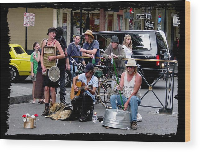 New Orleans Wood Print featuring the photograph Royal Street Musicians by Linda Kish