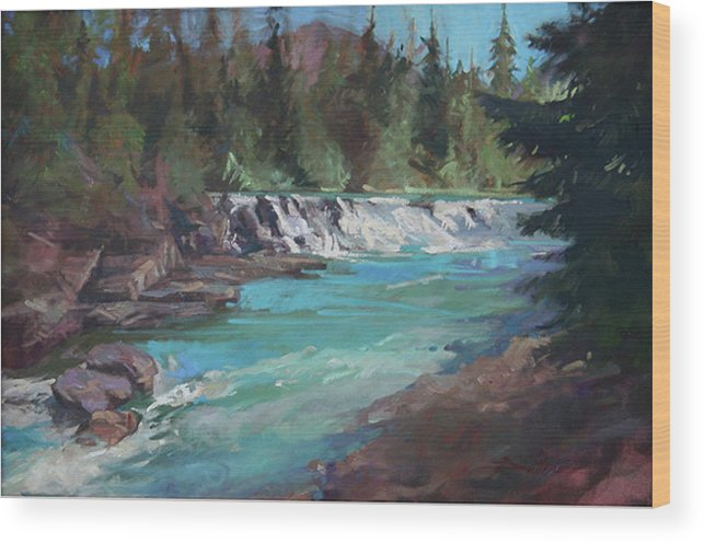 Glacier National Park Wood Print featuring the painting Sacred Dancing Cascade by Betty Jean Billups