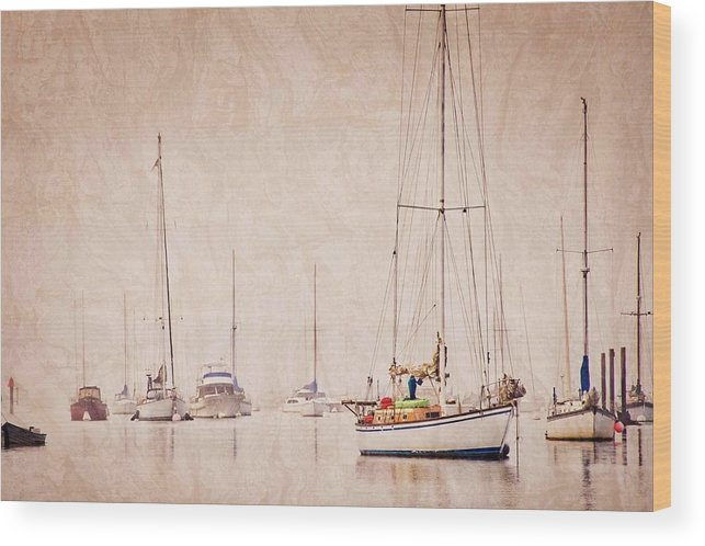 Sailboats Wood Print featuring the photograph Sailboats in Morro Bay Fog by Zayne Diamond Photographic