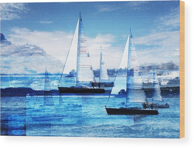 Boats Wood Print featuring the photograph Sailboats by Matthew Robbins