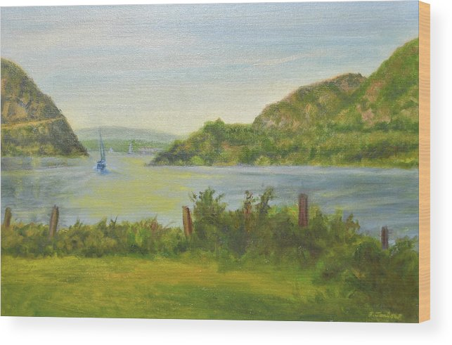 Landscape Wood Print featuring the painting Sailing Past Cold Spring by Phyllis Tarlow