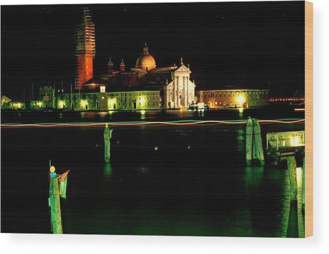 Venice Wood Print featuring the photograph San Georgio Maggiore in Venice at Night by Michael Henderson