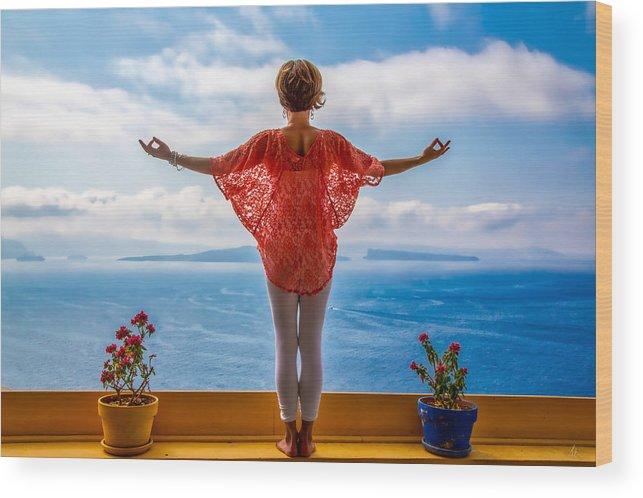 Santorini Wood Print featuring the photograph Santorini Yoga Goddess by Stuart Smith
