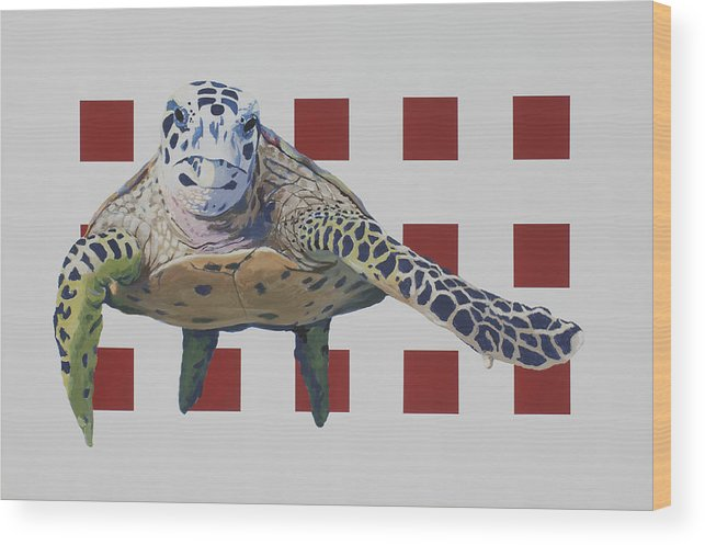 Colorful Sea Turtle Wood Print featuring the painting Sea Turtle by Marston A Jaquis