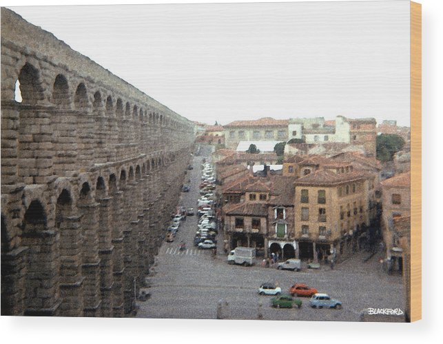 Segovia Wood Print featuring the digital art Segovia Aquaduct by Al Blackford