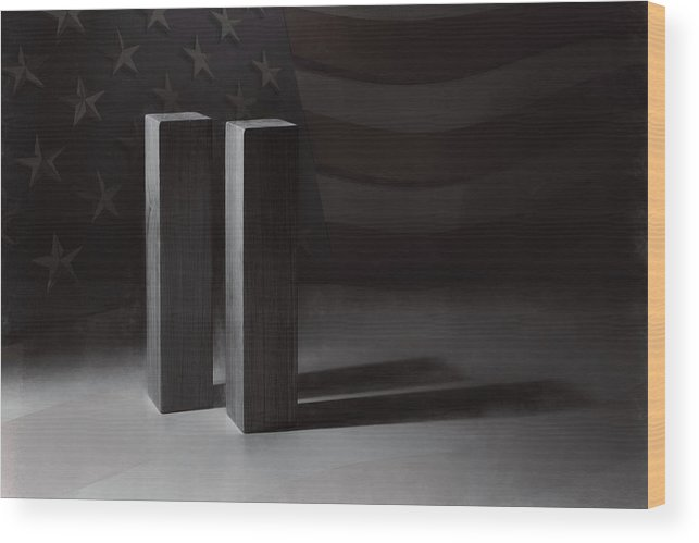 World Trade Center Wood Print featuring the photograph September 11, 2001 - Never Forget by Scott Norris