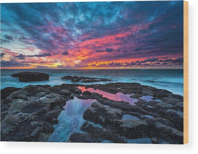 Sunset Wood Print featuring the photograph Serene Sunset by Robert Bynum