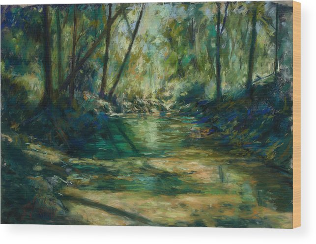 Green River Wood Print featuring the painting Somewhere Near Austin by Billie Colson