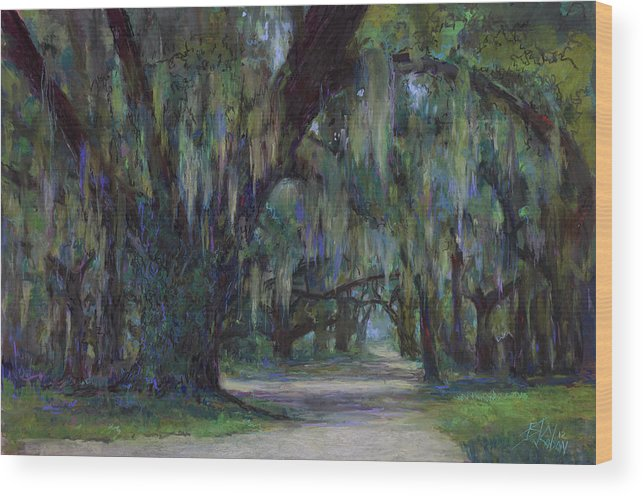 Southern Landscape Wood Print featuring the painting Spanish Moss by Billie Colson