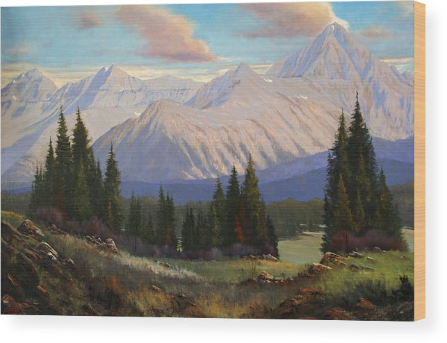 Landscape Wood Print featuring the painting Spring On The Dallas Divide 070809-3624 by Kenneth Shanika