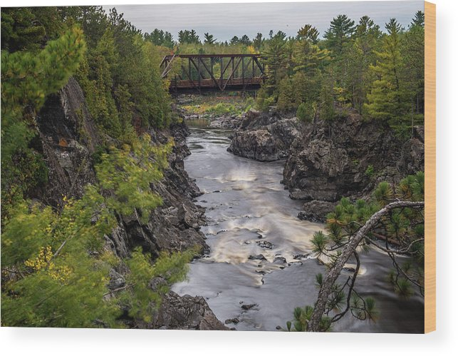 Jay Cooke State Park Wood Print featuring the photograph St Louis River Bridge by Paul Freidlund