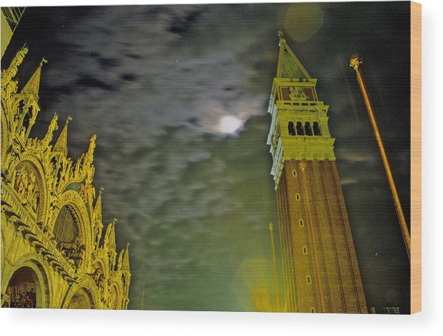 Venice Wood Print featuring the photograph St. Marks in Venice with Moon and Venus by Michael Henderson
