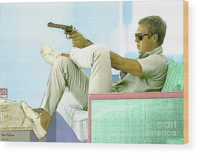 Steve Mcqueen Wood Print featuring the mixed media Steve McQueen, Colt revolver, Palm Springs, CA by Thomas Pollart