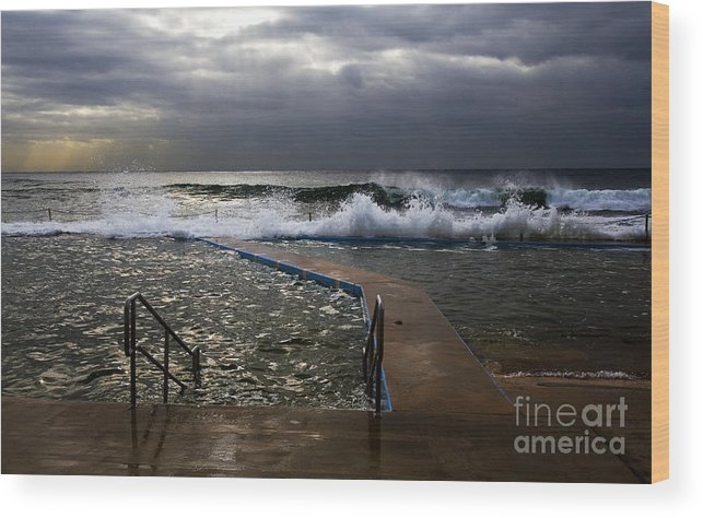 Storm Clouds Collaroy Beach Australia Wood Print featuring the photograph Stormy morning at Collaroy by Sheila Smart Fine Art Photography