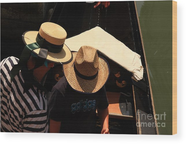 Venice Wood Print featuring the photograph Straw Hats in Venice by Michael Henderson