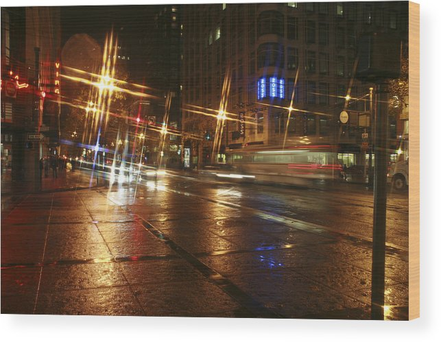 Night Wood Print featuring the photograph Streets by Wes Shinn