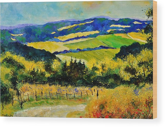 Landscape Wood Print featuring the painting Summer Landscape by Pol Ledent