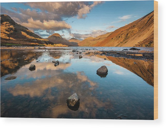 Sunrise Wood Print featuring the photograph Sunset at Wast Water #3, Wasdale, Lake District, England by Anthony Lawlor